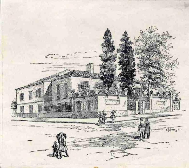 Σκίτσο από το κτίριο της Σχολής Χίλλ